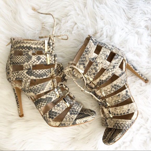 Vince Camuto Shoes - Vince Camuto Snake Skin Open Toe Cage Sandal